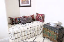 Moroccan Vintage Wedding Blanket Handira Berber Throw Wool Sequins 190cm x 130cm - 6.2 x 4.3ft H3